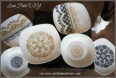 Nest Interiors: Stenciled lace plate diy (Note: for home decor only - NOT food safe)