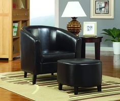 Structured with a straightforward yet sumptuous style, this Accent Chair comes included with an ottoman. This chair and ottoman set is accentuated with a dark brown finish and the chair features a barrel back. Includes: 1 chair and 1 ottoman Brown Accent Chair, Coaster Fine Furniture, Chair And Ottoman Set, Accent Chairs For Living Room, Dining Room, Barrel Chair, Unique Home Decor, Side Chairs, Beach Chairs