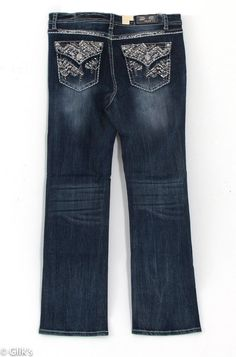 Grace in LA Plus Size Jeans Straight Leg with Chevron Embroidered Faux Flap Pockets