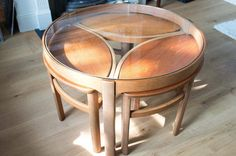 There are some light scratches to the underside of the glass, light surface scratches on the nested tables and one nested table has two small water marks. Some mottling on the bottom of the main table legs. | eBay!