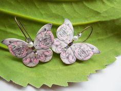 Butterfly Earrings. Plastic Shrink Art Dangle. Crystal Glitter Brass Lead Free Handmade Pink Grey White