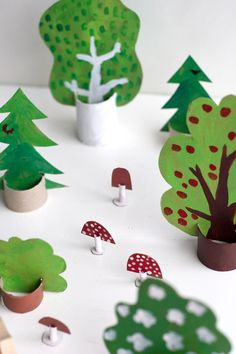 30 amazing kids craft ideas to get you through the school holidays - Wee Birdy - - UKKONOOA: Metsäleikit / Cardboard woods Craft Activities For Kids, Diy Crafts For Kids, Projects For Kids, Craft Ideas, Kindergarten Crafts, Preschool Crafts, Toilet Paper Roll Crafts, Paper Crafts, Apple Theme