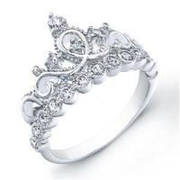 PROMOTION 925 Argent sterling Bijoux Noble Zircon Royal Crown Ring Taille 8 R034