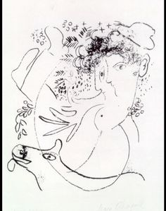 The two profiles by Marc Chagall Size: 24x21 cm Medium: lithography on paper