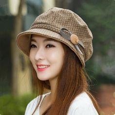 Khaki bucket hat Plaid bow trilby hat for winter