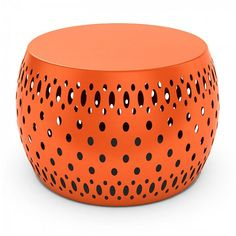 DAR Metal Garden Foot Stool ($70) ❤ liked on Polyvore featuring home, outdoors, patio furniture, outdoor stools, orange, garden patio furniture, orange end table, metal side table, garden side tables and painted side tables