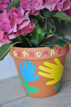 Mother's Day for Grandma hand print painted terra cotta pot.