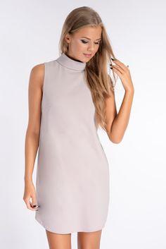 Tamsin Grey Turtle Neck Shift Dress