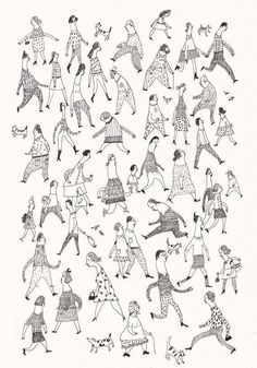 Crowed of by Tosya I really like this simple illustration of people, I like the line weight and the direction and movement. Really illustrates people and living each day. Illustration Inspiration, Pen Illustration, Character Illustration, Desenho Kids, Illustrations And Posters, People Illustrations, Drawing People, Art Inspo, Line Art