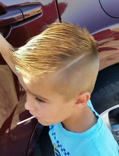 Hard part hair cut for little boys