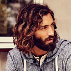 """Perfect colour melt kinda sombre so you could have some lightness without looking """"mismatched"""" with your beard (as your roots would still match). Really long layers"""