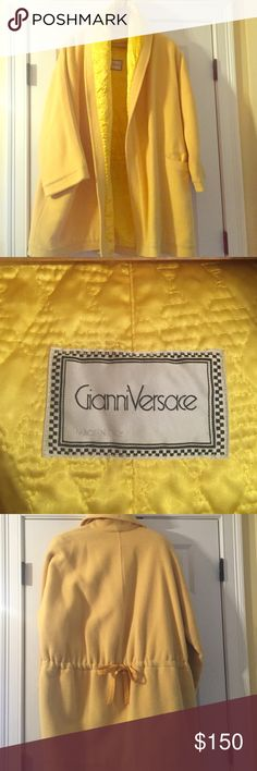 VERSACE yellow oversize vintage coat 100% AUTHENTIC Vintage Gianni Versace yellow coat. Yellow satin lining with a cinch bow to tie in back. My mother removed size tag but it seems to be a large to XL. Two front pockets, very warm and stunning! Versace Jackets & Coats