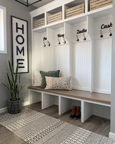 Entry Way Lockers, Built In Lockers, Built In Bench, Bench With Storage, Mudroom Cubbies, Mudroom Laundry Room, Bench Mudroom, Entry Bench, Bench Decor