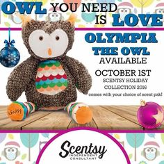 "Scentsy's ""Olympia the Owl"" limited edition stuffed animal, fragrance buddy. New for Holiday 2016. Includes choice of fragrance scent pak #ScentsWithStina"