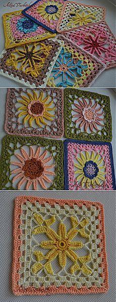 Crochet blocks with flowers on the inside - Вязание