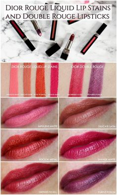 DIOR ROUGE LIQUID LIP STAIN AND DOUBLE ROUGE LIPSTICK REVIEW AND SWATCHES