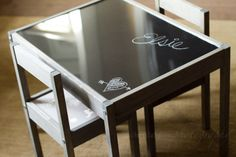 tinkerwiththis: IKEA hack: LATT table and chairs. http://tinkerwiththis.blogspot.com/2013/03/ikea-hack-latt-table-and-chairs.html. Adding a piece of plexiglass on top of a chalkboard painted table.