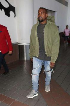 Kanye West in Yeezy 350 Boost sneakers.