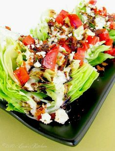 wedge salad. ice berg, tomatoes, bacon, balsamic, ranch, blue cheese crumbles