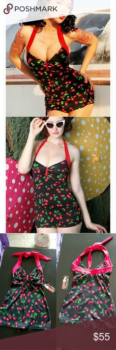 NWT Pin Up Girl Clothing Bettie Swimsuit Hey bathing beauties!  New with tags one-piece retro swimsuit by Pin Up Girl Clothing in their best-selling Bettie style. Halter tie neck, boyshort cut at bottom, black cherry print with red trim.   Keywords: pinup, rockabilly, vintage, rocker, model, goth, beach, summer, legsuit, bathing suit, swimwear, 50s Pin Up Girl Swim One Pieces