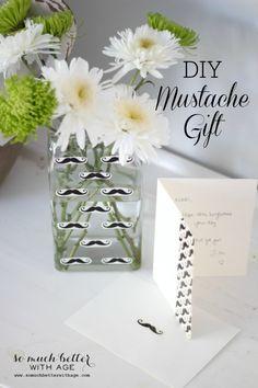 DIY Mustache Gift via somuchbetterwithage.com #ducktape #DIY #mustache