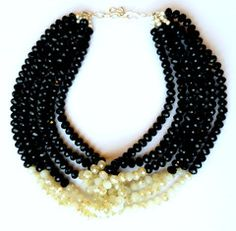 Black and White Beaded Knot Collar Statement Necklace   MIA ELLIOTT