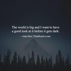 Inspirational Positive Quotes :The world is big and I want to have a good look at it before it gets dark. Jo