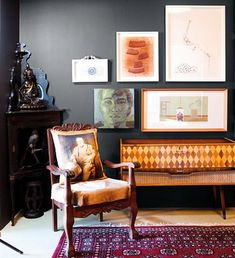 The mix of retro and antique furniture works well in this space. The dark wall makes the corner piece less imposing - nice idea to bring heirloom pieces into your decor. Plascon Paint, Plascon Colours, My First Apartment, Spare Room, Cozy House, Home Projects, Color Inspiration, Small Spaces, House Design
