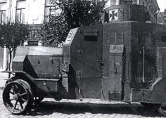 With the fighting on the Eastern Front brought to an end before Germany was able to deploy their tanks, the only German armored vehicles to end up on the east were armored cars, such as this Erhardt E-V/4 in Rostov, sent as occupation troops in 1918.  (National Archives)
