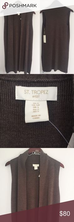 """St Tropez West Long Open Brown Sleeveless Cardigan NWT and in great condition, no flaws. Long open Cardigan with great zipper detail on the sides. Pairs great with a pair of leather leggings or skinny jeans! 19"""" bust and 38"""".  Metin wool and acrylic mix. No trades, offers welcome. St. Tropez Sweaters Cardigans"""