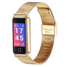 Bluetooth Smart Watch Waterproof Heart Rate Monitor Healthy Vibration Watches Women for Android IOS Fitness Bracelet Bluetooth, Fitness Tracker, Smartwatch, Gold Fashion, Luxury Fashion, Fashion Women, Fitness Bracelet, Smart Bracelet, Bracelet Watch