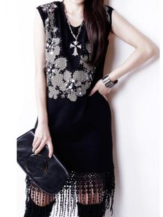 Vintage Modern Style Sequins Beading Round Collar Tassels Color Sleeveless Dress