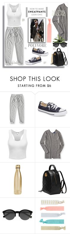 """""""Comfort is Key: Sweatpants"""" by eula-eldridge-tolliver ❤ liked on Polyvore featuring Aéropostale, Converse, S'well, Gucci, EyeBuyDirect.com and Accessorize"""