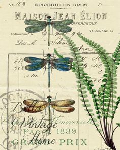 Botanical Blue Dragonflies and Fern Print, Pillow, Note Cards, Tea Towel