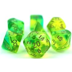 "Firefly Dice (Green and Aqua) RPG Role Playing Game Dice Set(I'll never forget P. calling them Mountain Dew Green dice at the first gaming store I took him to; ""The Deep"" ! All Games, Games To Play, Dice Games, Playing Dice, Playing Games, Pen And Paper Games, Call Of Cthulhu Rpg, Dungeons And Dragons Dice, Dragon Games"