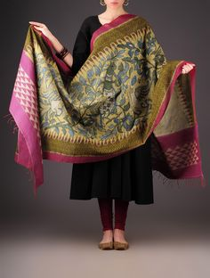 Buy Olive Pink Cotton Kalamkari Ikat Printed Dupatta Accessories Dupattas Painted Verse Pochampally Handloom in Craft Online at Jaypore.com