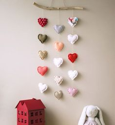 Spread the love – Adorable DIY Baby Mobile Ideas – Photos - Home Decor Valentines Day Decorations, Valentine Day Crafts, Valentine Banner, Baby Decor, Nursery Decor, Kids Decor, Nursery Design, Room Decor, Diy For Kids
