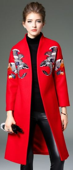 Red Wool Blended Animal Print Raglan Sleeve Open Front H-Line Trench Coat