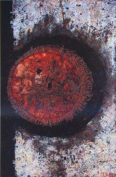 Mikuláš Medek, Manifestace kruhu, 1964, kombinovaná technika, olej, plátno, 146 x 95 cm