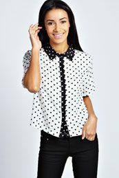 Talia Polka Dot Short Sleeve Shirt