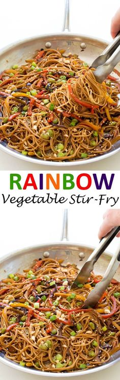 Rainbow Vegetable Noodle Stir-Fry. A quick and healthy weeknight dinner that takes less than 20 minutes to make! | chefsavvy.com #recipe #rainbow #vegetable #noodle #stir #fry