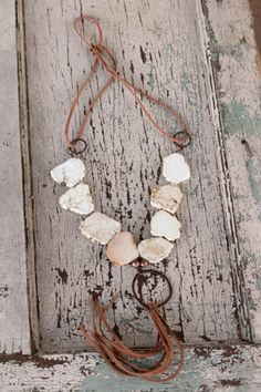 White Turquoise and Leather Necklace. Western Chic. Texas Chic. Western Wear. Trendy Retro and a Touch of Texas. Rodeo Outfit.