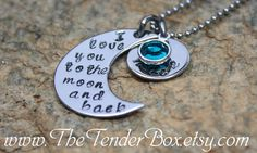 personalized necklace I love you to the moon and back hand stamped moon and name pendant necklace. on Etsy, $19.00