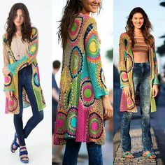 Discover thousands of images about Cardigan largo mujer cardigan crochet boho chic ropa mujer Crochet Cardigan Pattern, Crochet Jacket, Crochet Poncho, Boho Chic, Pull Crochet, Gilet Long, Popular Crochet, Crochet Fashion, Boho Outfits