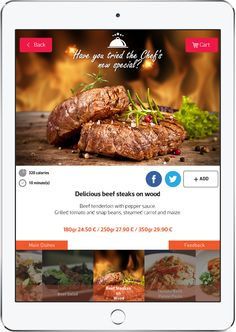 Promote your Chef's special on your FineDine Tablet menu Digital Menu, Beef Salad, Grilled Tomatoes, Beef Tenderloin, Penne Pasta, Tomato Basil, Menu Restaurant, Carrots, Main Dishes