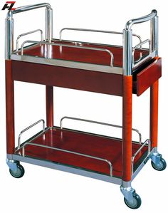 Mobile Walnut Hotel Food Service Trolley Serving Trolley