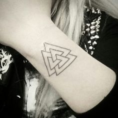 Valknut - the viking warrior symbol for protection. 9 points of the triangles each stand for one of the 9 viking noble virtues. (Honor, Courage, Perseverance, Fidelity, Self-Reliance, Industriousness, Truth, Hospitality & Discipline) The triple triangles of Mind, Body, and Spirit leads the Higher Self to Victory over Darkness.
