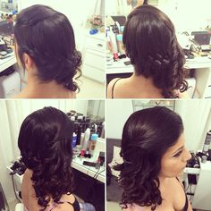 Collects braid hairstyle with the hair to one side and the rest of the hair with curls open. Hair Design - Yafit Quraysh 054-4536769