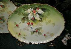 FESTIVE HOLLY & GOLD Limoges Tray