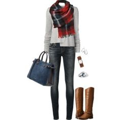 Gray sweater, skinnies, cognac boots, red plaid scarf